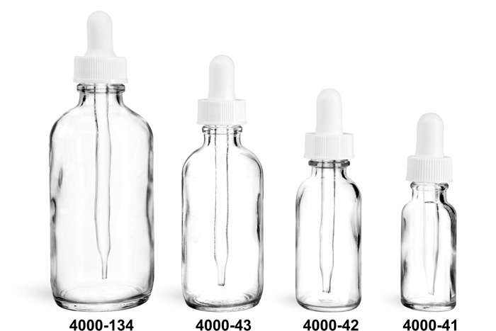 Glass Bottles, Clear Glass Boston Round Bottles With White Bulb Glass Droppers