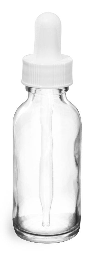 1 oz   Clear Glass Round Bottles w/ White Bulb Glass Droppers