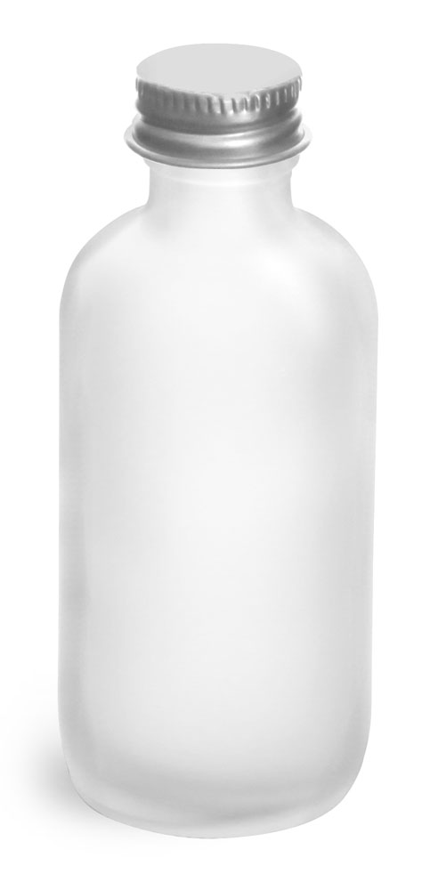 2 oz       Frosted Glass Round Bottles w/ Lined Aluminum Caps