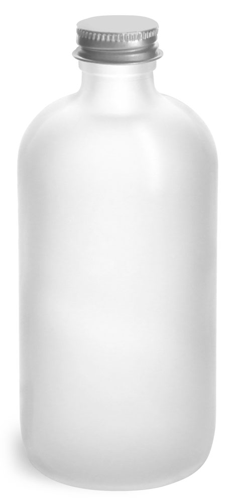 8 oz       Frosted Glass Round Bottles w/ Lined Aluminum Caps