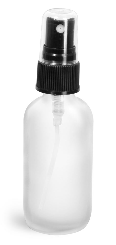 2 oz        Frosted Glass Round Bottles w/ Black Fine Mist Sprayers