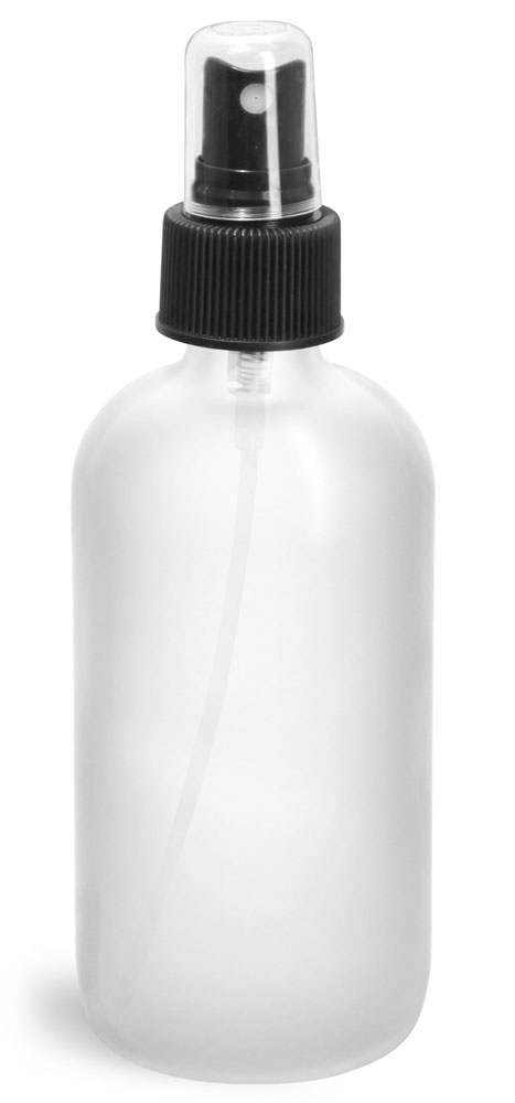 Frosted Glass Round Bottles w/ Black Fine Mist Sprayers