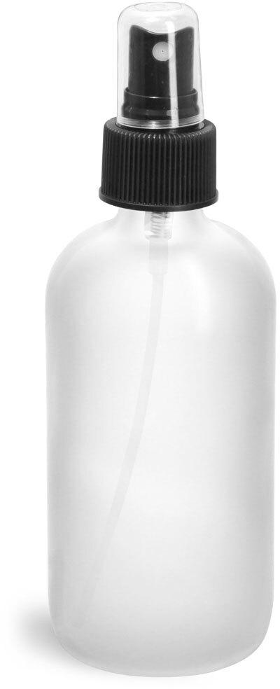 Frosted Glass Round Bottles w/ Black Fine Mist Sprayers