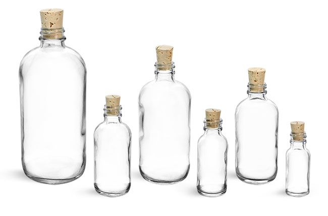 Glass Bottles, Clear Glass Boston Rounds w/ Cork Stoppers