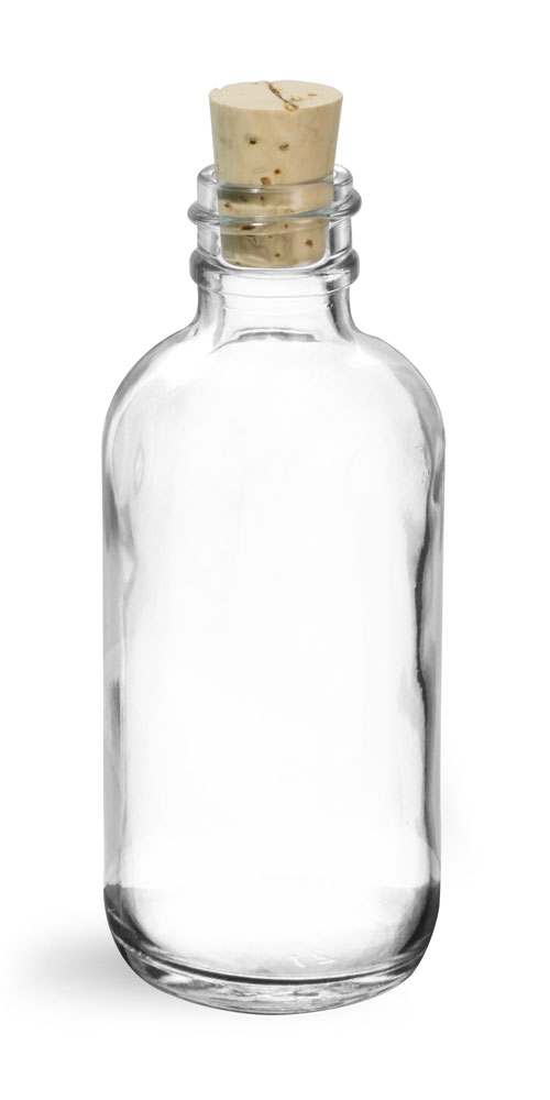 2 oz Clear Glass Round Bottles w/ Cork Stoppers