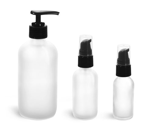 Frosted Glass Boston Round Bottles w/ Black Treatment  Pumps