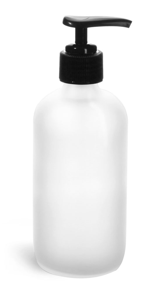 8 oz      Frosted Glass Round Bottles w/ Black Pumps