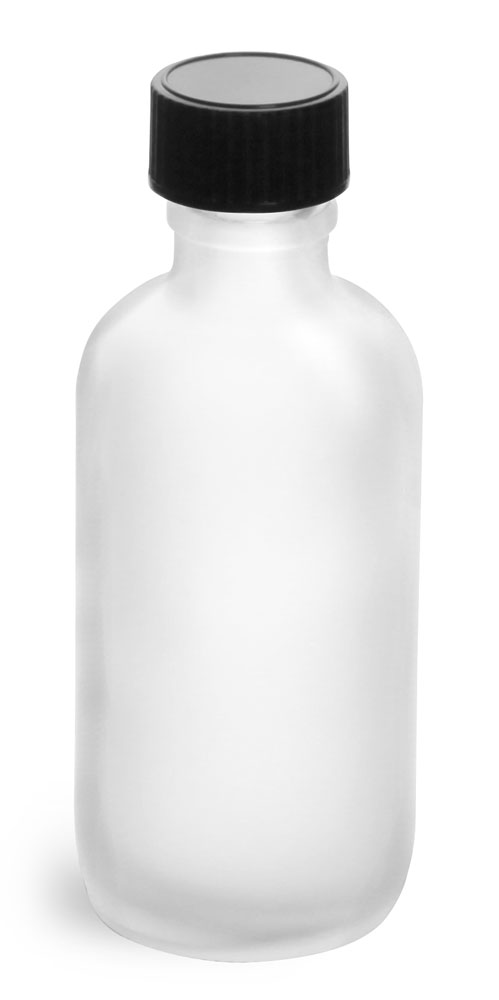 2 oz         Frosted Glass Round Bottles w/ Black Phenolic Cone Lined Caps