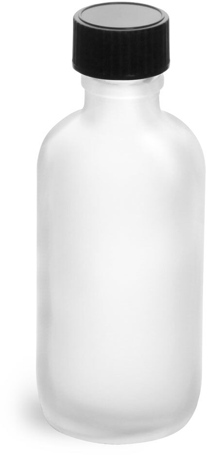 Frosted Glass Round Bottles w/ Black Phenolic Cone Lined Caps
