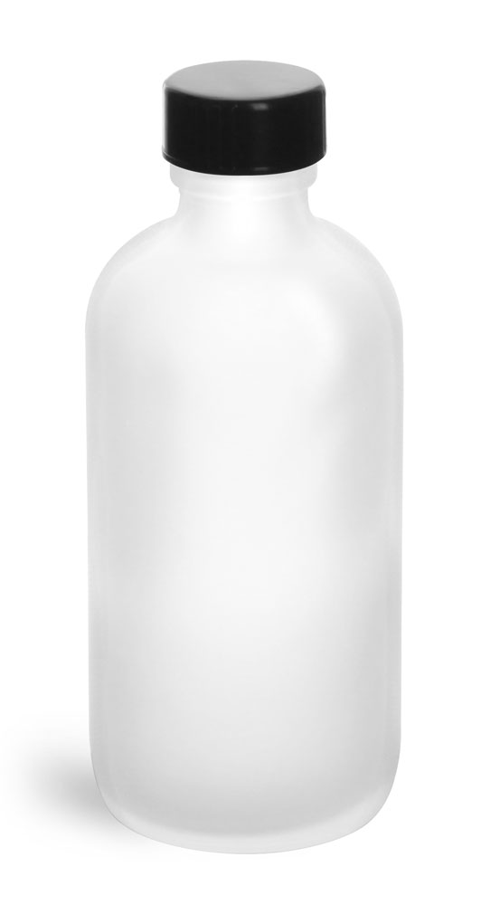 4 oz         Frosted Glass Round Bottles w/ Black Phenolic Cone Lined Caps