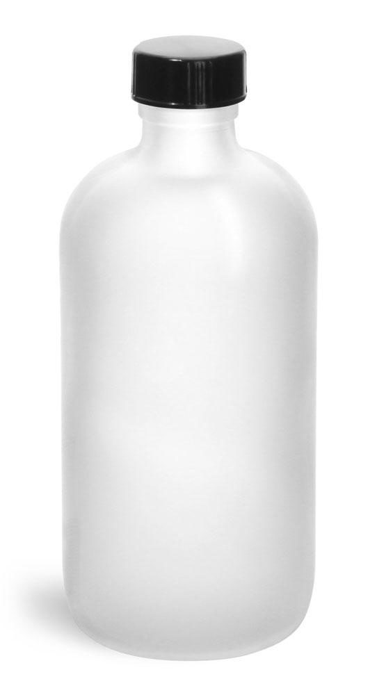 8 oz         Frosted Glass Round Bottles w/ Black Phenolic Cone Lined Caps