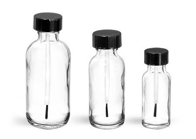 Glass Bottles, Clear Glass Boston Round Bottles w/ Black Brush Caps