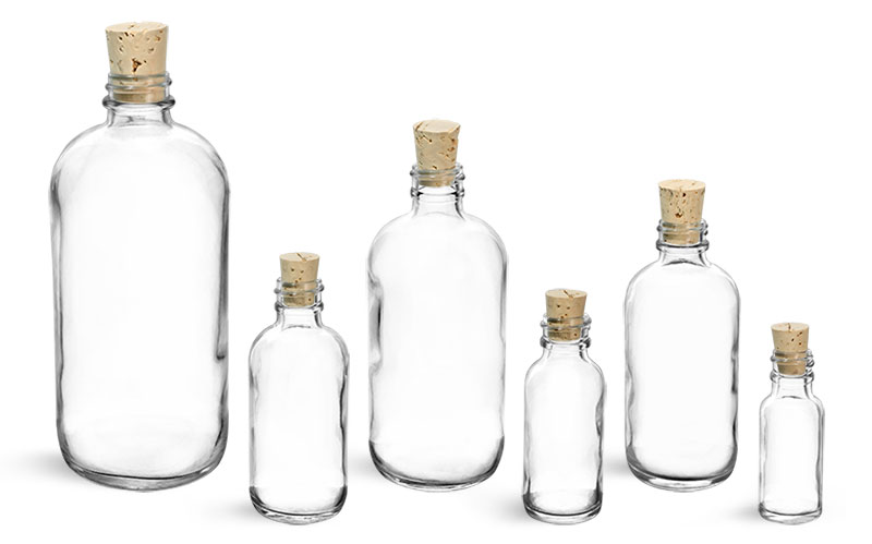 Clear Glass Round Bottles w/ Cork Stoppers