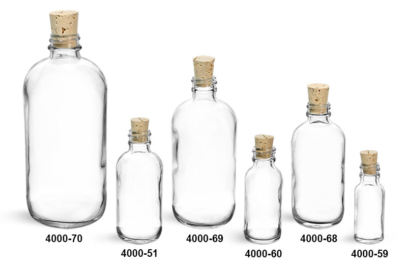 Glass Bottles, Clear Glass Boston Round Bottles w/ Cork Stoppers