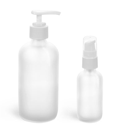 Glass Bottles, Frosted Glass Boston Round Bottles w/ White Pumps