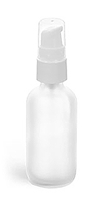 Frosted Glass Boston Round Bottles w/ White Treatment Pumps