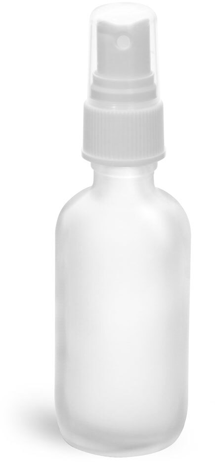 Clear Frosted Glass Boston Rounds w/ White Sprayers