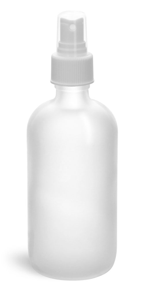 8 oz Clear Frosted Glass Boston Rounds w/ White Sprayers