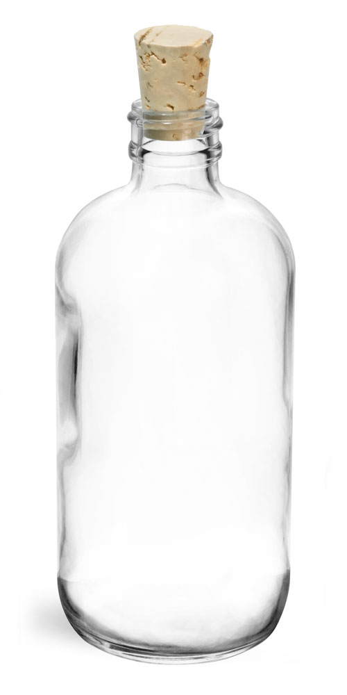 8 oz Clear Glass Boston Rounds w/ Cork Stoppers