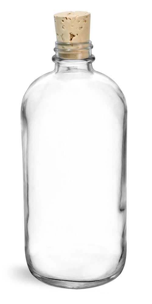 16 oz Clear Glass Boston Rounds w/ Cork Stoppers