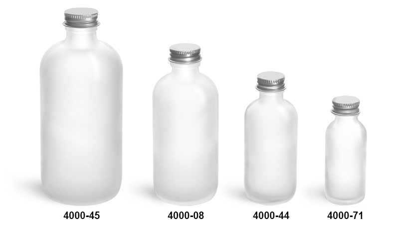 Glass Bottles, Frosted Glass Boston Round Bottles w/ Lined Aluminum Caps