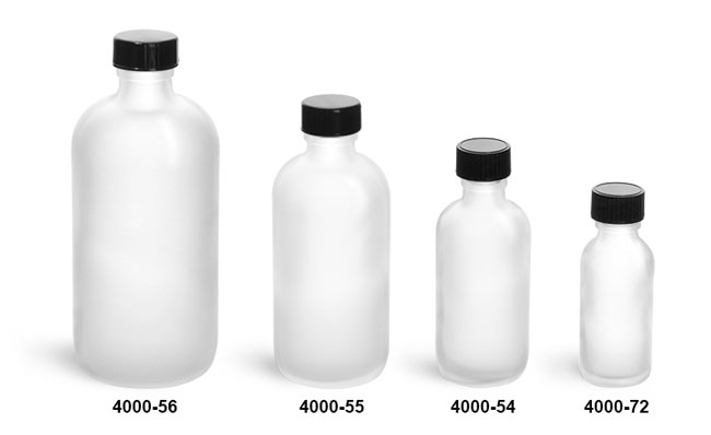 Glass Bottles, Frosted Glass Boston Round Bottles w/ Black Phenolic Cone Lined Caps