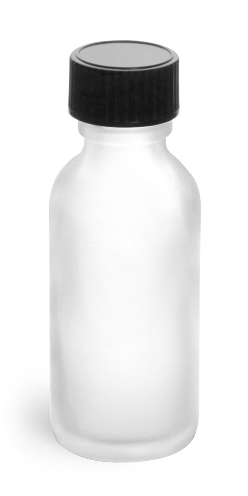 1 oz Frosted Glass Round Bottles w/ Black Phenolic Cone Lined Caps