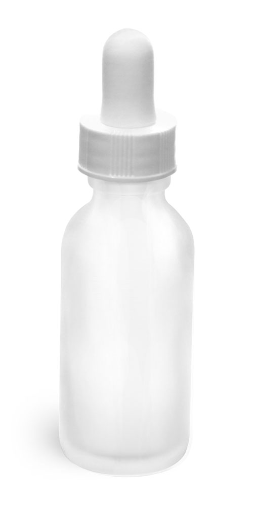 1 oz Glass Bottles, Frosted Glass Rounds w/ White Bulb Glass Droppers