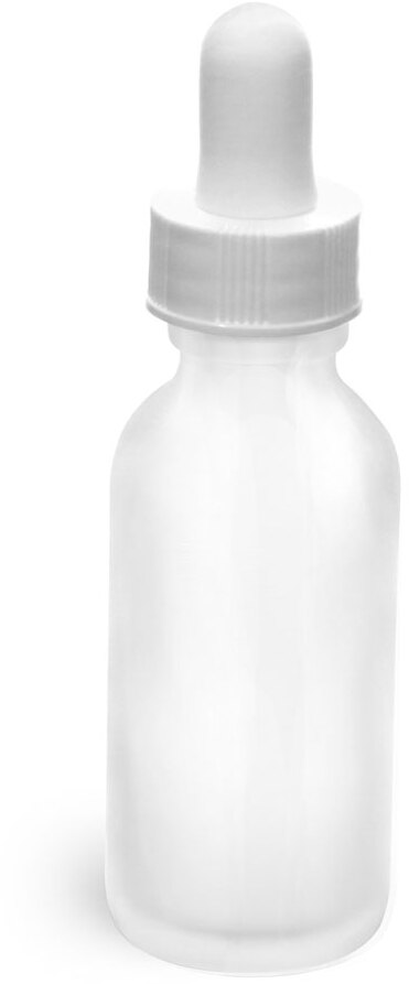 Glass Bottles, Frosted Glass Rounds w/ White Bulb Glass Droppers