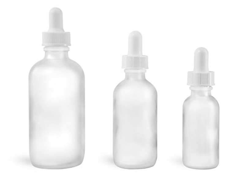 Frosted Glass Bottles, Glass Boston Round Bottles w/ White Bulb Glass Droppers