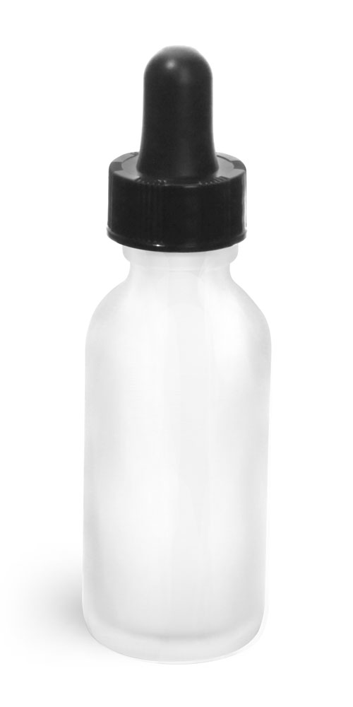 1 oz Glass Bottles, Frosted Glass Rounds w/ Black Bulb Glass Droppers