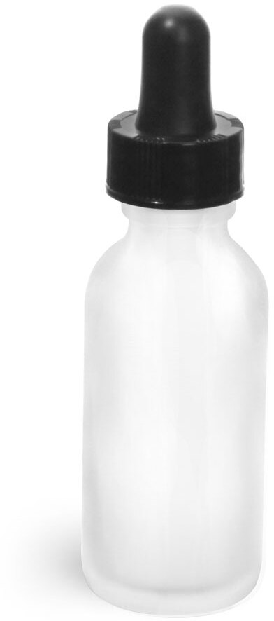 Glass Bottles, Frosted Glass Rounds w/ Black Bulb Glass Droppers