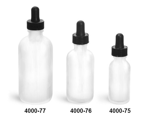 Glass Bottles, Frosted Glass Boston Round Bottles w/ Black Bulb Glass Droppers