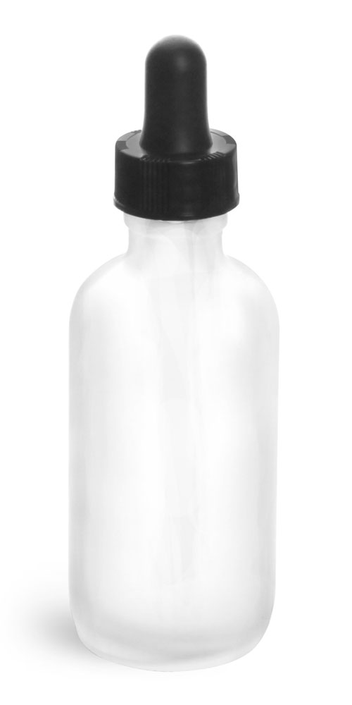 2 oz Glass Bottles, Frosted Glass Rounds w/ Black Bulb Glass Droppers