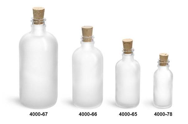 Glass Bottles, Frosted Glass Boston Round Bottles w/ Cork Stoppers