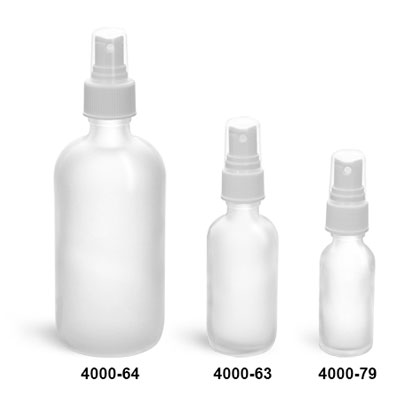 Glass Bottles, Clear Frosted Glass Boston Round Bottles w/ White Ribbed Sprayers