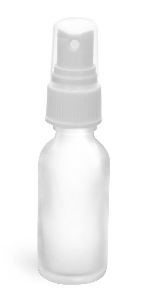 1 oz Clear Frosted Glass Boston Rounds w/ White Sprayers