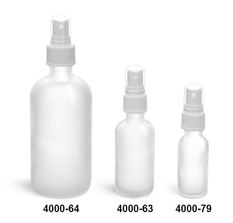 Glass Bottles, Clear Frosted Glass Boston Round Bottles w/ White Ribbed Fine Mist Sprayers