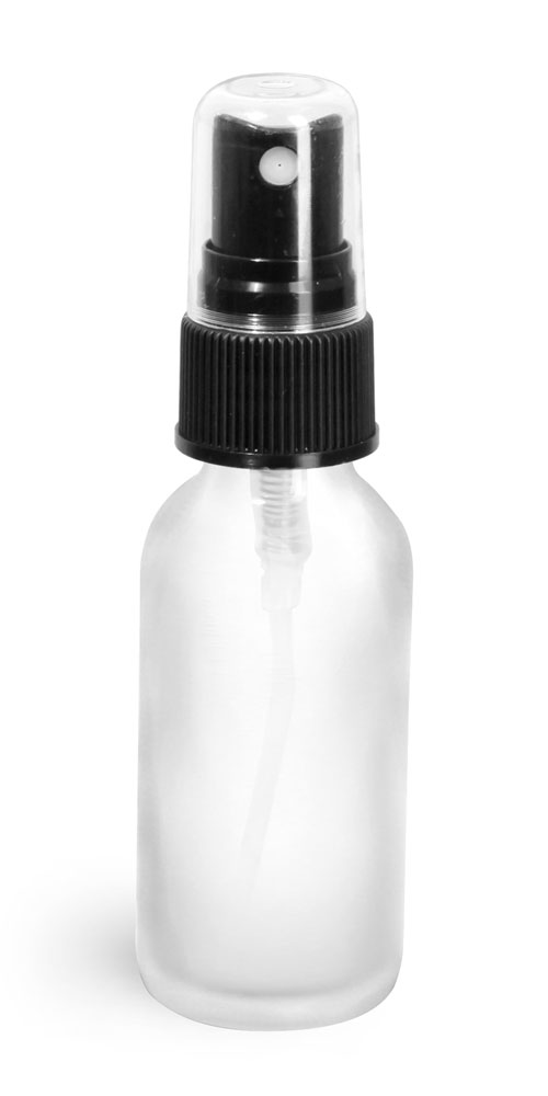 1 oz Frosted Glass Round Bottles w/ Black Fine Mist Sprayers