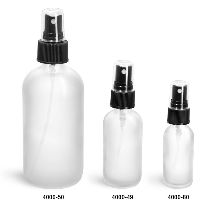 Glass Bottles, Frosted Glass Boston Round Bottles w/ Black Ribbed Fine Mist Sprayers