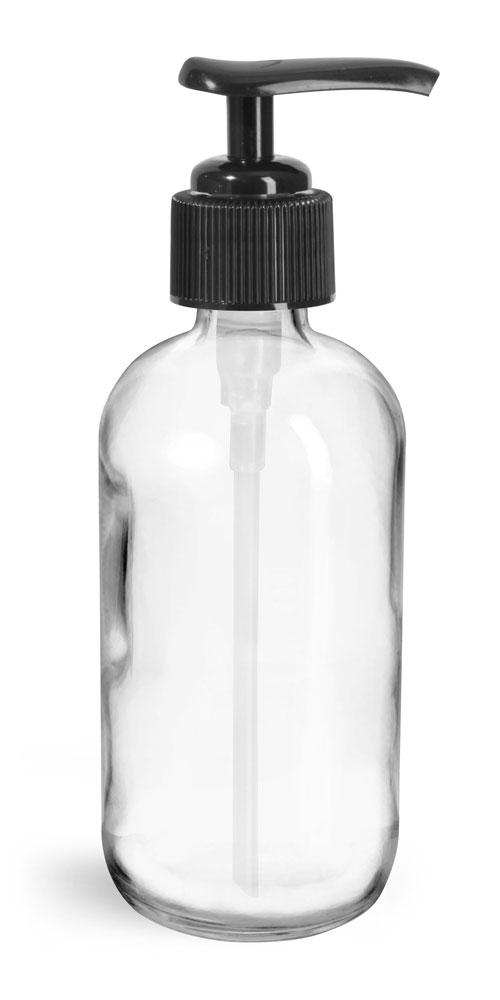 8 oz Glass Bottles, Clear Glass Rounds w/ Black Pumps