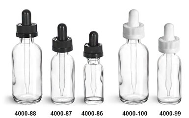 Original Clear Glass Boston Round Bottles w/ Black & White Child Resistant Droppers
