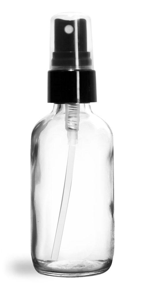 2 oz Glass Bottles, Clear Glass Boston Rounds w/ Smooth Black Fine Mist Sprayers