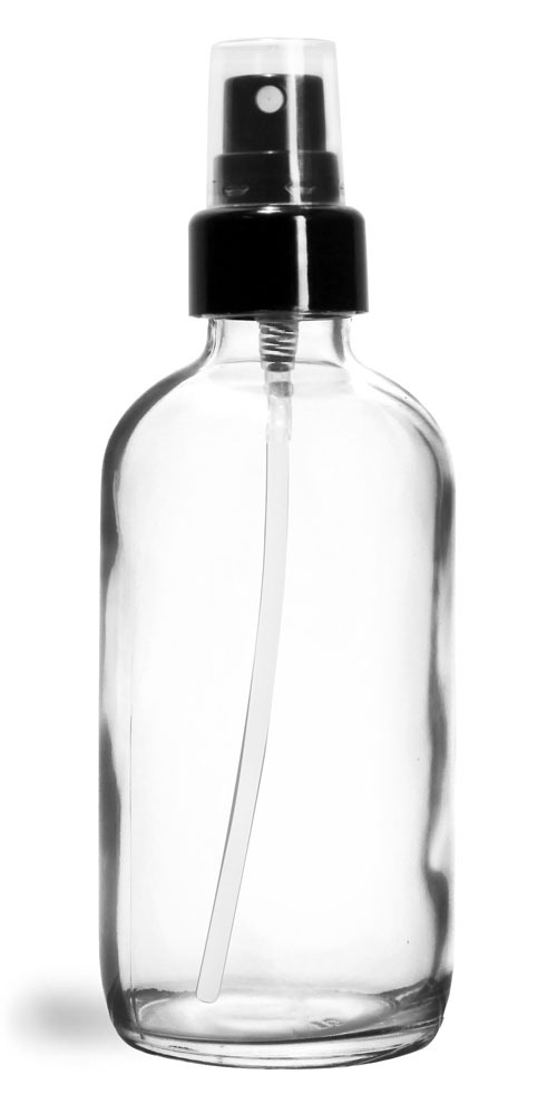 4 oz Glass Bottles, Clear Glass Boston Rounds w/ Smooth Black Fine Mist Sprayers