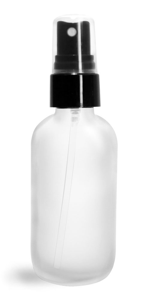 2 oz Glass Bottles, Frosted Glass Boston Rounds w/ Smooth Black Fine Mist Sprayers