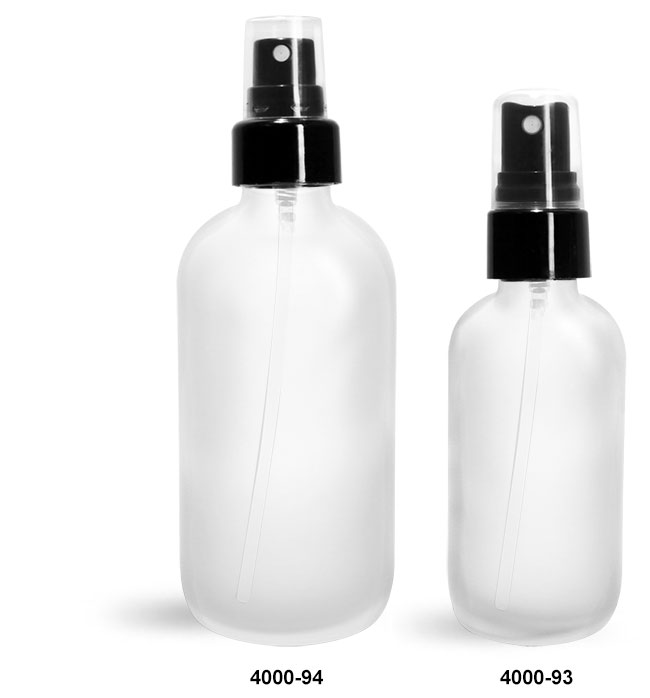 Glass Bottles, Frosted Glass Boston Rounds w/ Smooth Black Fine Mist Sprayers