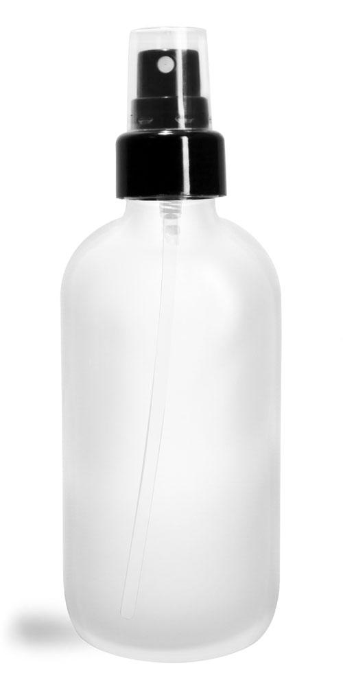 4 oz Glass Bottles, Frosted Glass Boston Rounds w/ Smooth Black Fine Mist Sprayers
