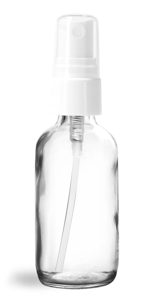 2 oz Glass Bottles, Clear Glass Boston Rounds w/ White Smooth Sprayers
