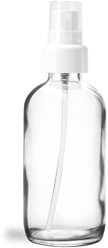 Glass Bottles, Clear Glass Boston Rounds w/ White Smooth Sprayers