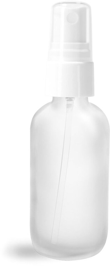 Glass Bottles, Frosted Glass Boston Rounds w/ White Smooth Sprayers